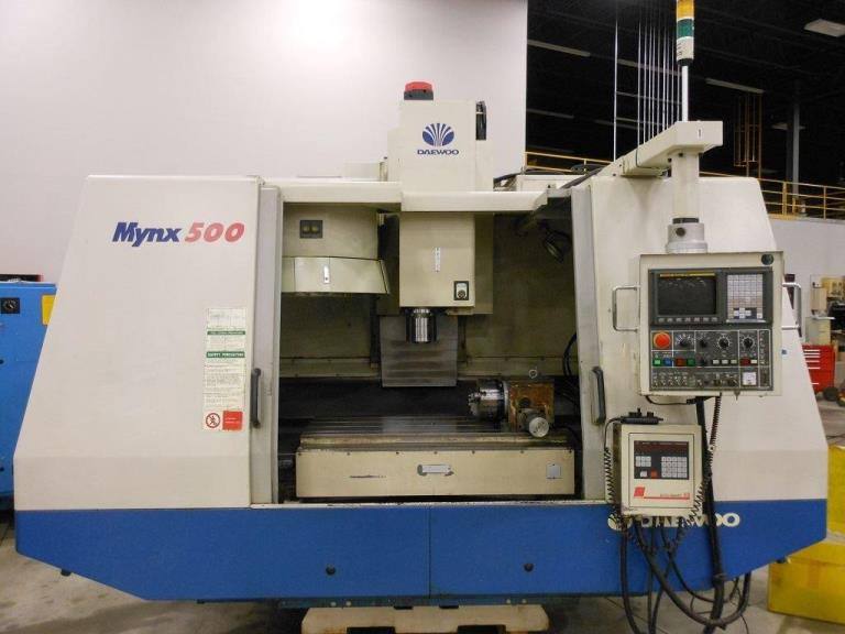 "40""X, 20""Y, 22""Z, Daewoo MYNX500, 2001, 8,000 rpm, Box way, Fanuc 21M, 4th axis"
