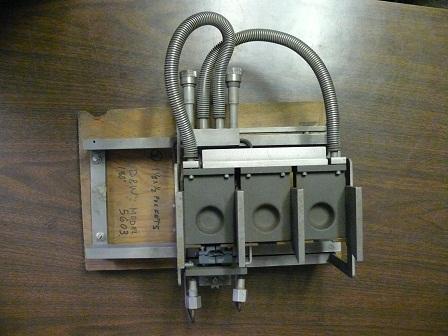 D & W E-Beam Gun, No. Model 5603, Davison & Wilder (D & W) Model 5603 180 deg 3 pocket water cooled holder E