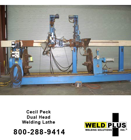 "Cecil Peck, Cecil Peck Dual Head Welding Lathe, Dual carriages 1 powered & 1 manual,6"" manual horizon L"