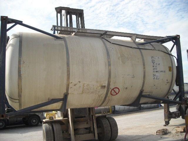 6300gal., 316 Ti/L SS barrel, carbon frame, static storage tank, w/ heat coils, insulation/cladding.